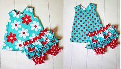 Little #girls #classic #pinafore #pini #dress in #red #white #polka #swedish #flowers & #turquoise #blue with #ruffle #bloomers #set inspired by the #1950's www.bluebrdandhoney.com