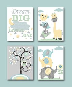 Baby Boy Nursery Quotes Elephant Wall Art Giraffe by artbynataera
