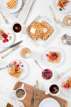 Morning breakfast / brunch table setting prop styling