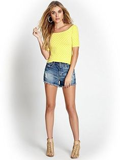 GUESS Iconic Polka-Dot Scoop-Neck Top Baja Yellow $30 SHIPS FREE BEACH HIPPIE (Patent Pending) Ladies Clothing KIOSKS IN NJ AND & NY ♥ ♥ ♥ AUTHENTIC TOP BRANDS♥ ♥ ♥ OUR PRICES ARE THE BEST!...GUARANTEED! ♥ ♥ ♥