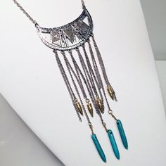 Eclectic Aztec tribal half moon bib necklace with by JEWELETTO