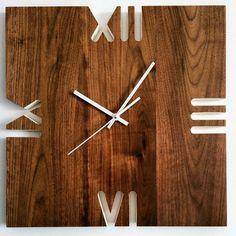 Wall Clock Wooden, Wood Clocks, Clock Art, Diy Clock, Wall Watch, Modern Clock, Wall Clock Design, Large Clock, Wooden Watch