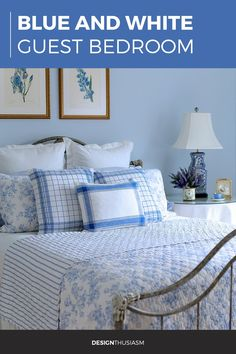French Blue Guest Room Elegant Home Decor, Elegant Homes, Cheap Home Decor, Chinoiserie, Home Nyc, French Country Bedrooms, Country Bedroom Blue, Decoration Bedroom, Blue Rooms