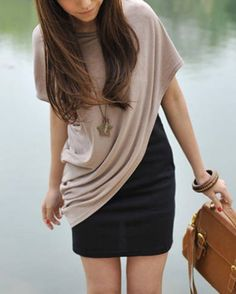 Asymmetrical Summer Style. This reminds me of a lot of dresses I saw in South Korea