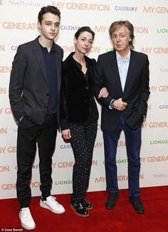 The Fab Three! Sir Paul McCartney was joined by his daughter Mary McCartney and grandson A...