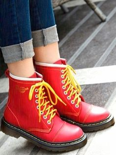 Red Fashion Color Strappy Martin Boots