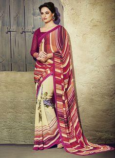 NS11940 Dakr Magenta and Ivory Daily Wear Designer Chiffon Saree