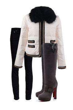 Moncler Jacket and Christian Louboutin Boot @HeeledShoes http://moncler-online-shop.blogspot.com/  moncler clothing,