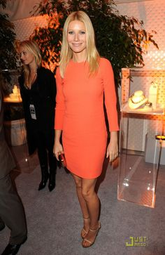 I am crushing on all things orange lately... the simplicity of this Calvin Klein dress is so perfectly chic on style maven Gwyneth P!