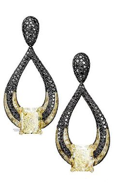 de Grisogono yellow and black diamond earrings