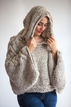 Tweed Beige Angel Sweater Capalet with Hoodie – Over Size Plus Size Tweed Beige Cable Knit by Afra Plus Size Knitting Sweater Capalet with Hoodie Over Size by afra Pull Crochet, Hand Crochet, Free Crochet, Hand Knitting, Knit Crochet, Tunisian Crochet, Crotchet, Knitting Patterns, Crochet Patterns