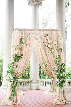 Ivy and Floral Wedding Inspiration at Hycroft Manor : LauraSponaugle.com Wedding Ceremony Flowers, Wedding Table, Garden Wedding, Wedding Altars, Wedding Arches, Wedding 2017, Church Wedding, Botanical Wedding, Floral Wedding