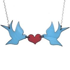 Kissing Swallows Necklace made from recycled vinyl records