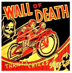 obviously not using wording or skeleton man...but could do something on wall with fast biker