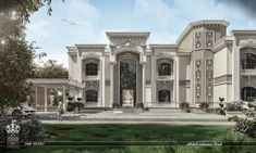 White Dove Palace on Behance Classic House Exterior, Classic House Design, White Mansion, Modern Mansion, House Outside Design, Door Gate Design, Luxury Homes Dream Houses, White Doves, Bars For Home