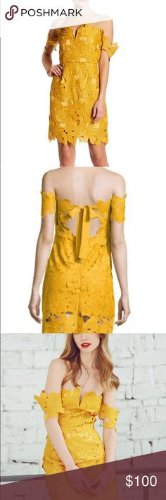 NWT Few Moda Mustard yellow Allison dress This is a new with tags dress from Few Moda. It is called Allison dress and is a mustard yellow. It fits off the shoulder and has a lace flower pattern. It is a size large Few Moda Dresses Mini