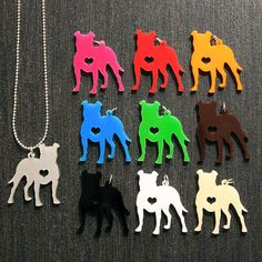 Floppy Ear Pit Bull Silhouette w/ Heart Necklace 10 by larrythedog, $16.99