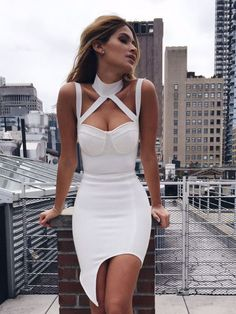 Jessa White Choker Detail Asymmetric Hem Bandage Dress