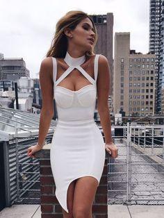 Jessa White Choker Detail Asymmetric Hem Bandage Dress