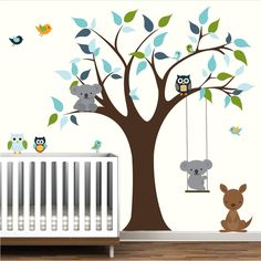 Vinyl Decals Tree with Koala Bear, Kangaroo, Owls-Nursery Decal Stickers.