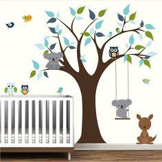 Vinyl Decals Tree with Koala Bear, Kangaroo, Owls-Nursery Decal Stickers.