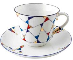 Kaleidoscope Cup and Saucer from Lomonosov Porcelain at The Russian Shop