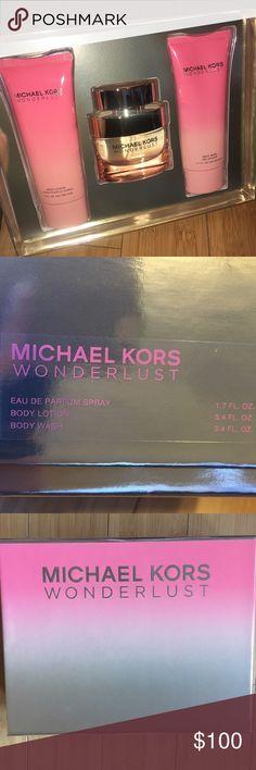 Michael Kors Wonderlust fragrance set Brand New in Box - has never been sprayed or used.    Set Includes:  Perfume 1.7 FL OZ Body Lotion 3.4 FL OZ Body Wash 3.4 FL OZ Michael Kors Other