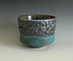 stoneware vessel with barium and crater glazes