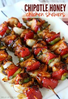 These Chicken skewers are the perfect summer dinner. Chicken and veggies marinated in a Chipotle Honey Grilling Sauce then barbecued to perfection!