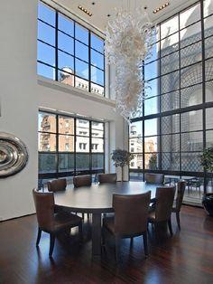 TriBeCa Townhouse-02-1 Kind Design....Chihuly chandelier!