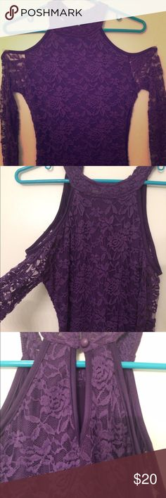 Fredericks of Hollywood purple lace dress Side zipper purple lace with two buttons in the back. Shoulder less sexy knee length dress. This dress is in great condition! Frederick's of Hollywood Dresses Midi