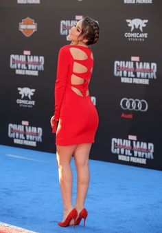 Chloe Bennet booty and sexy legs in a little red dress at Captain America movie premiere