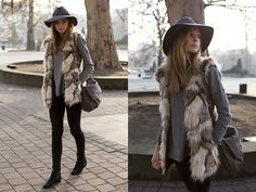 Patrizia Pepe Hat, Marc By Marc Jacobs Bag, Choies Furry Waistcoat - love the fur coat and hat - simple style
