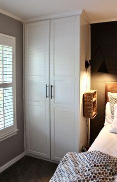 Ikea Built In Wardrobes, Ikea Wardrobe Closet, Bedroom Built In Wardrobe, Closet Bedroom, Bedroom Decor, Wardrobes For Small Bedrooms, Small Built In Wardrobe Ideas, Ikea Bedroom Storage, Painted Wardrobe