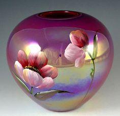 Fenton RARE Color Raspberry Iridized Round Vase  <3<3<3STUNNINGLY BEAUTIFUL<3<3<3