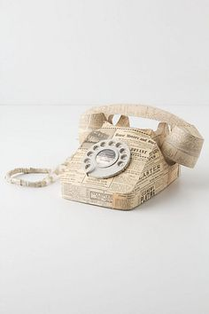 Paper Rotary Phone #anthropologie  What a cool idea to decoupage an old phone!
