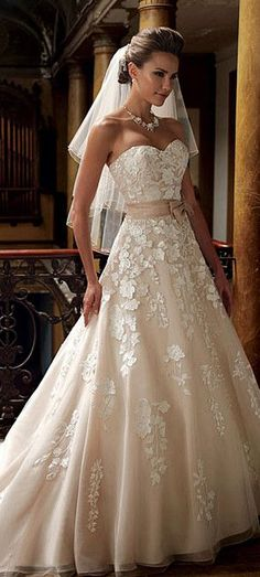 lovely low sweetheart neckline champagne ball gown wedding dress #wedding #weddingdress