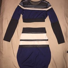 Blue/Cream/Black 2-Piece Sheer/Polyester Dress This 2-Piece dress is brand new, never been worn. Did NOT come labeled (ordered from a boutique). Polyester/Spandex! Complimenting to your shape, cute with booties, talk boots, or heels! No Label Dresses Midi