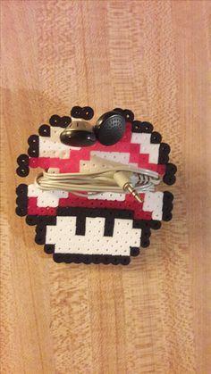 Mega Mushroom ear bud holder - Perler Bead Super Mario World www.etsy.com/shop/PerlerBeadArmory