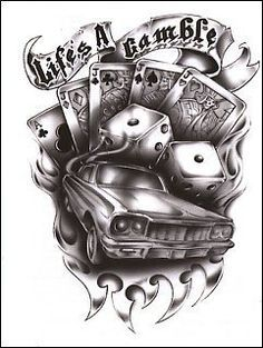 """Life's A Gamble"""""""" Temporaray Tattoo by Tattoo Fun. $3.95. This is a Temporary tattoo of a black and white low rider car surrounded by flames, a pair of dice, playing cards, and a ribbon that reads """"life's a gamble"""". It measures approx 3"""" long x 2"""" wide."""