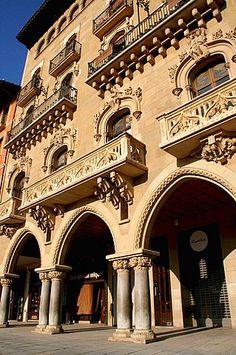 Art nouveau Casa Costa (1906, architect Josep Ylla i Cortines) in main square, Vic, Barcelona province, Catalonia.