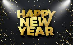 Download wallpapers Happy New Year, floodlights, 3d letters, New Year 2018, xmas, Christmas