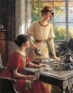 'Women Having Tea'. Rather appropriate I think. Artist Albert Lynch He was born in Peru but settled in Paris and studied st l'École Des Beaux Arts . French Ladies mostly. Tea Illustration, People Illustration, Victorian Illustration, Reading Art, Tea Art, Drinking Tea, Vintage Art, Tea Time, Fine Art