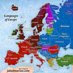 Map of languages and language families of Europe