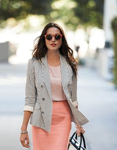 Pin-Striped Jacket with light pop of color underneath