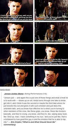 """[gifset] Eric Kripke (""""What Is and What Should Never Be"""" commentary) on Jensen's acting. THIS is why he is my favorite actor."""