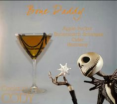 """Bone Daddy   Cocktails by Cody: """"The Pumpkin King himself, Jack Skellington. In this hardened twist on a caramel appletini, the introduction of Hennessy melds well with the flavorful apple flavors. Garnished with a spiderweb built into the glass with black licorice. *Since this is a drink with a bit of alcohol bite, and you want to soften it up a bit, remove Hennessy, and substitute the hard cider for apple juice, and add a splash of vanilla vodka to perk it up*"""" #disney #cocktails"""