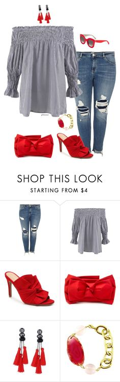 """""""Not just a pretty face- plus size"""" by gchamama ❤ liked on Polyvore featuring River Island, RED Valentino and CÉLINE"""