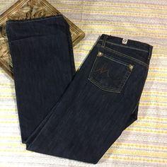 Jet Lag Womens Jeans Boot Cut Dark Wash Denim Stretch Leather Patch Pants Sz 29 #JetLag #BootCut