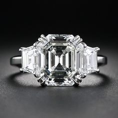 This absolutely fabulous ring features a stunning carat original Asscher-cut diamond, cut in the heyday of Art Deco - circa The gorgeous and glittering diamond is accompanied by a GIA Diamond Grading Report stating: J color, clarit Asscher Cut Diamond Ring, Diamond Art, Diamond Jewelry, Jewelry Rings, Fine Jewelry, Emerald Diamond, Diamond Rings, Or Antique, Antique Jewelry